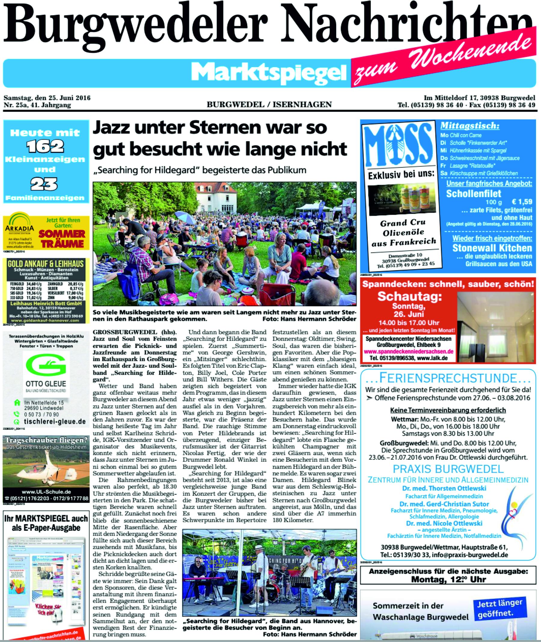 Burgwedeler Nachrichten loben Searching for Hildegard Jazzband Hannover