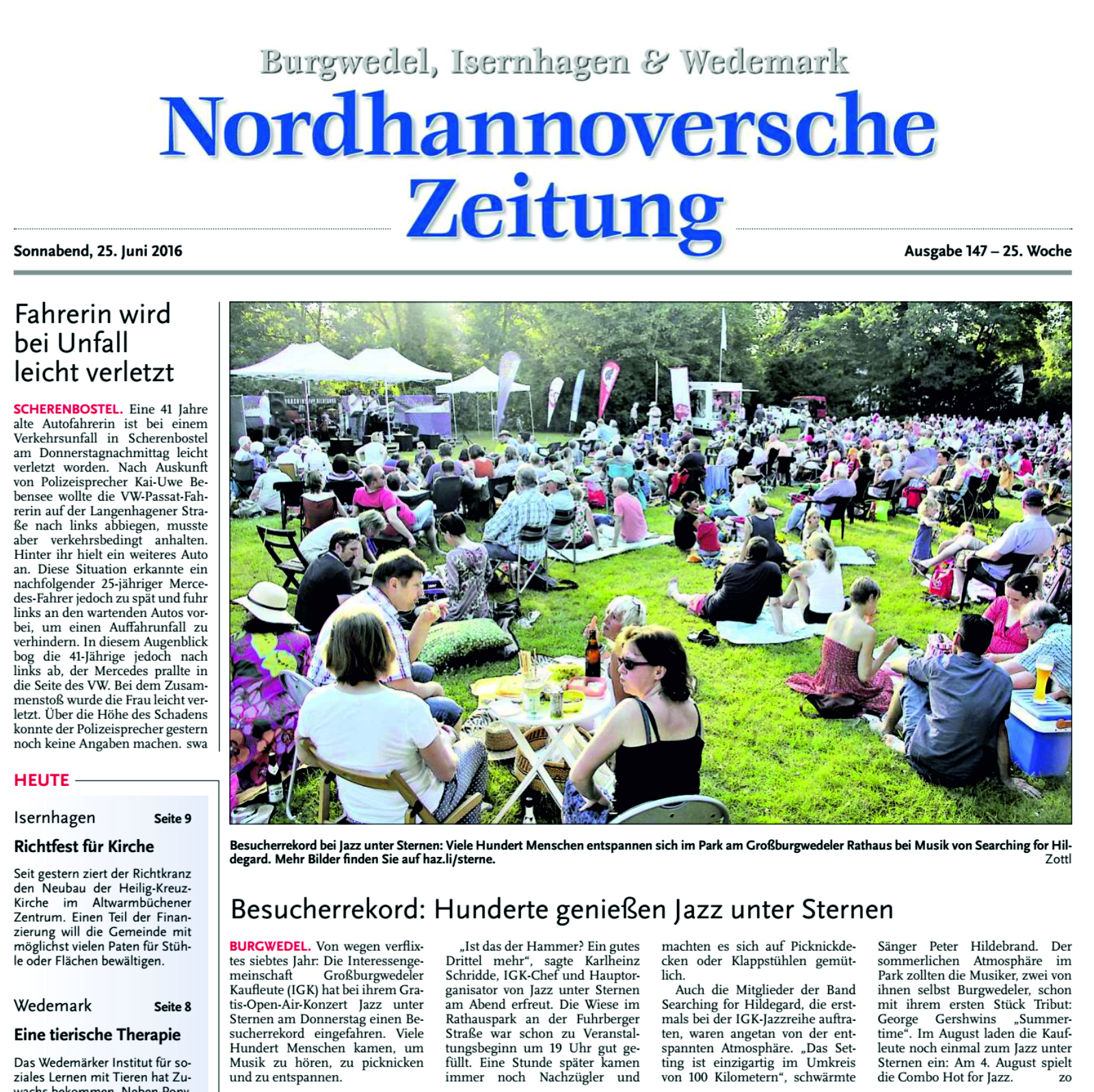 Nordhannoversche Zeitung lobt Searching for Hildegard Jazzband Hannover